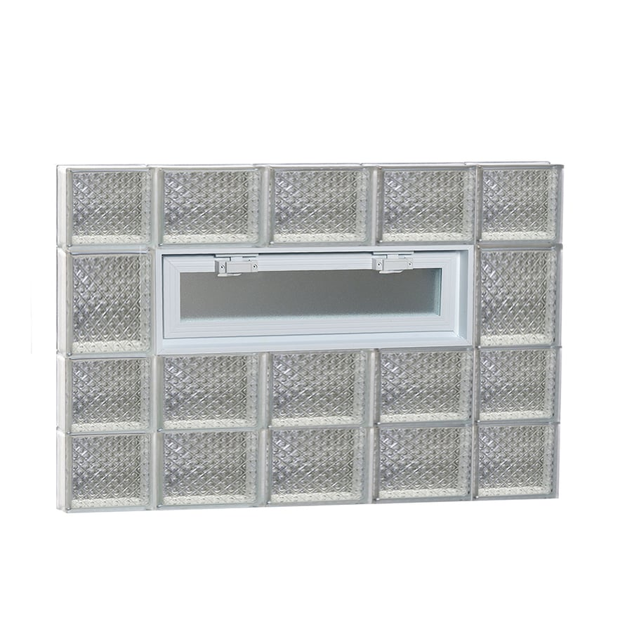 REDI2SET Diamond Pattern Frameless Replacement Glass Block Window (Rough Opening: 36-in x 26-in; Actual: 34.75-in x 25-in)