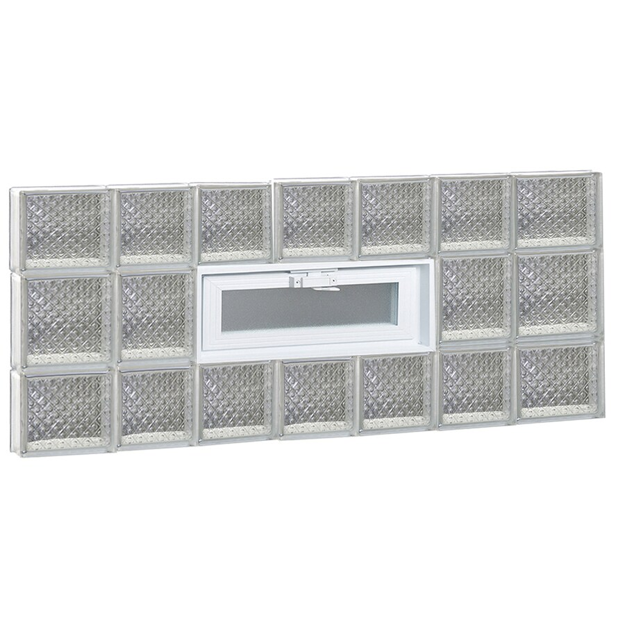 REDI2SET Diamond Glass Pattern Frameless Replacement Glass Block Window (Rough Opening: 46-in x 20-in; Actual: 44.25-in x 19.25-in)