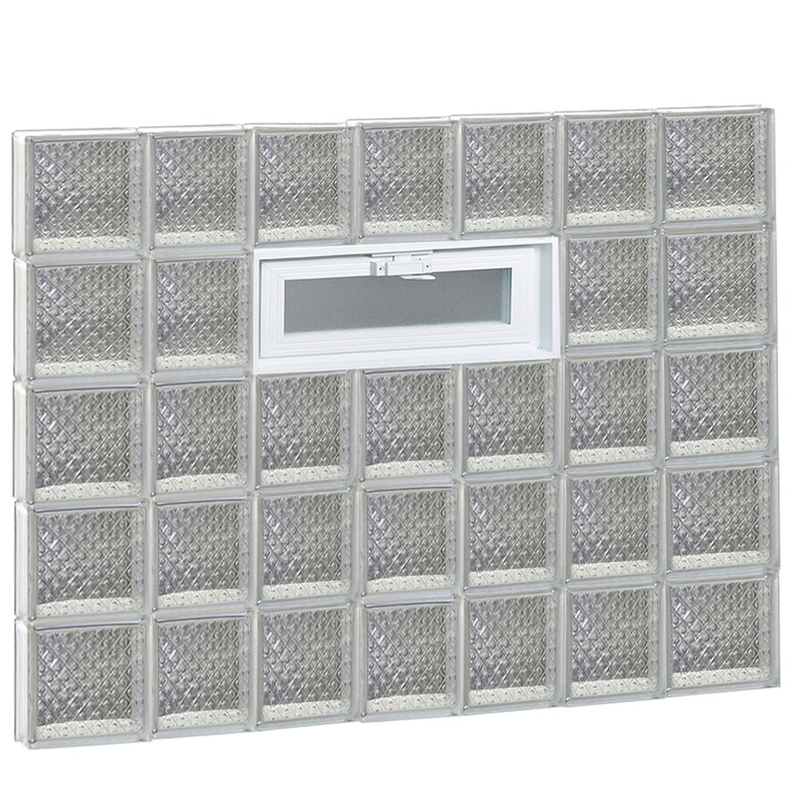 REDI2SET Diamond Glass Pattern Frameless Replacement Glass Block Window (Rough Opening: 46-in x 40-in; Actual: 44.25-in x 38.75-in)