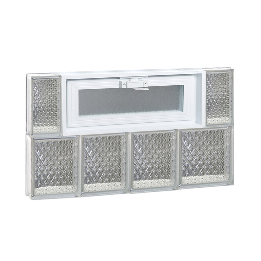 REDI2SET Diamond Glass Pattern Frameless Replacement Glass Block Window (Rough Opening: 26-in x 16-in; Actual: 25-in x 15.5-in)