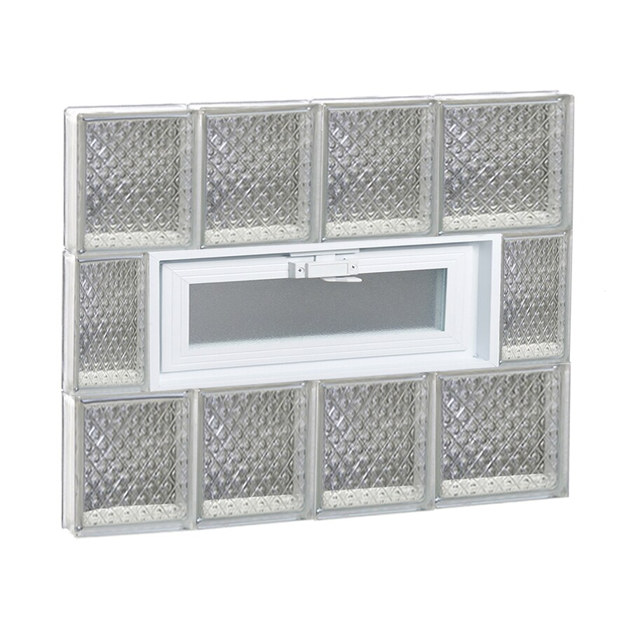 REDI2SET Diamond Glass Pattern Frameless Replacement Glass Block Window (Rough Opening: 26-in x 24-in; Actual: 25-in x 23.2500-in)