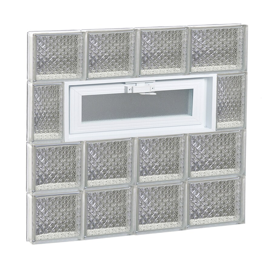 REDI2SET Diamond Pattern Frameless Replacement Glass Block Window (Rough Opening: 26-in x 26-in; Actual: 25-in x 25-in)