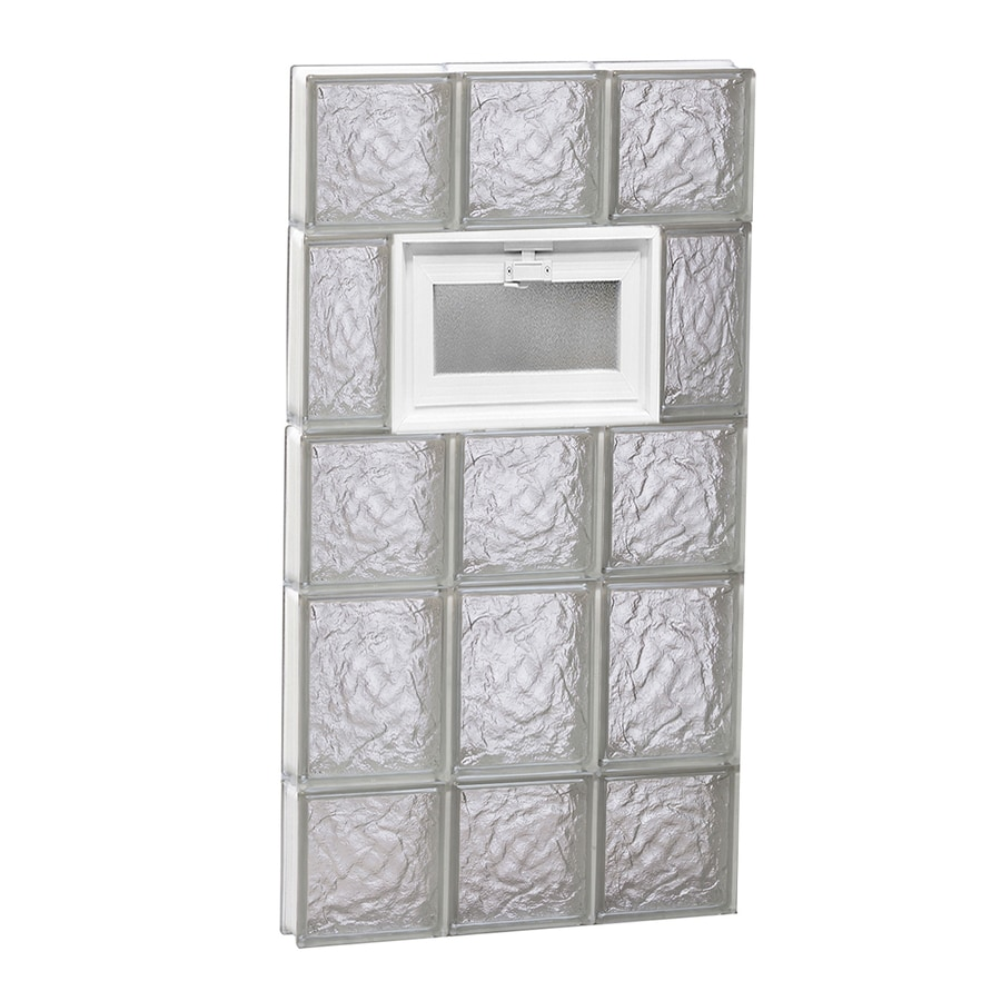 REDI2SET Ice Pattern Frameless Replacement Glass Block Window (Rough Opening: 18-in x 34-in; Actual: 17.25-in x 32.75-in)