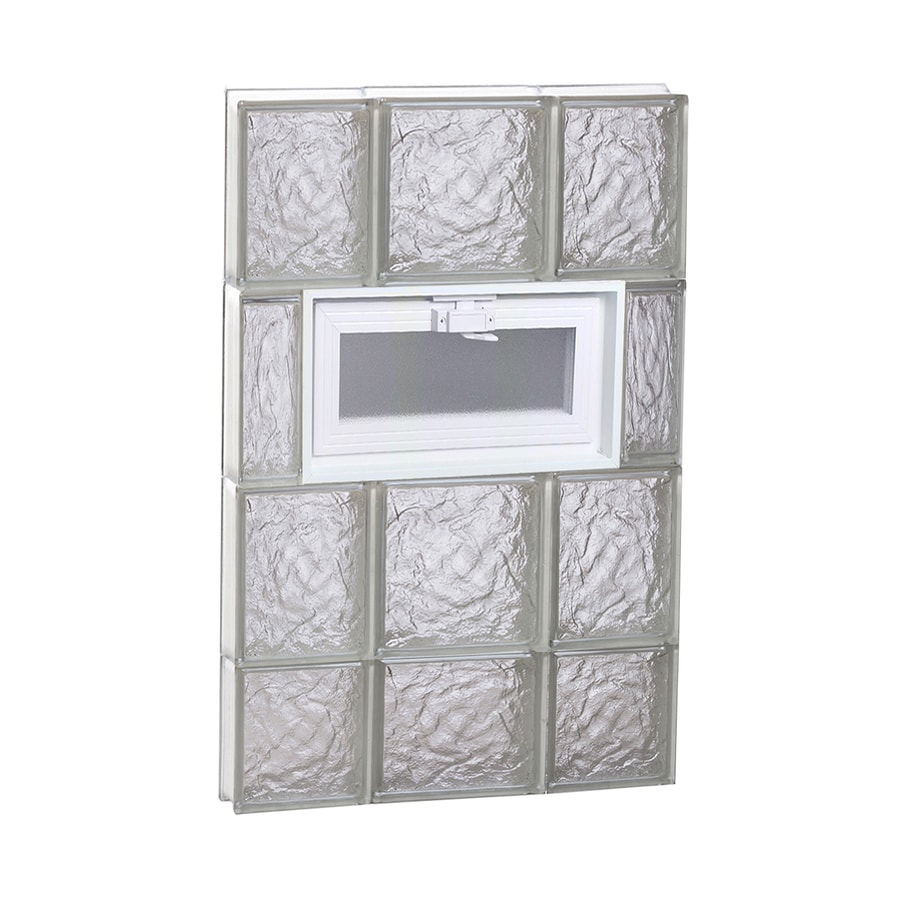 REDI2SET Ice Glass Pattern Frameless Replacement Glass Block Window (Rough Opening: 20-in x 30-in; Actual: 19.25-in x 29-in)