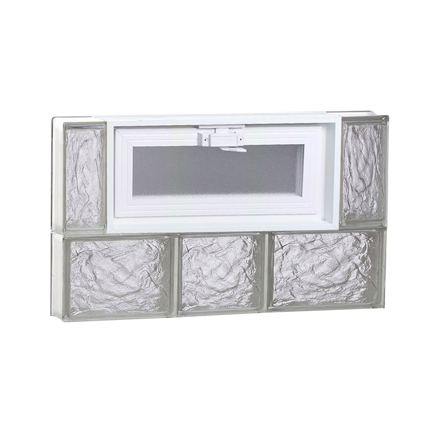 REDI2SET Ice Glass Pattern Frameless Replacement Glass Block Window (Rough Opening: 22-in x 14-in; Actual: 21.25-in x 13.5-in)