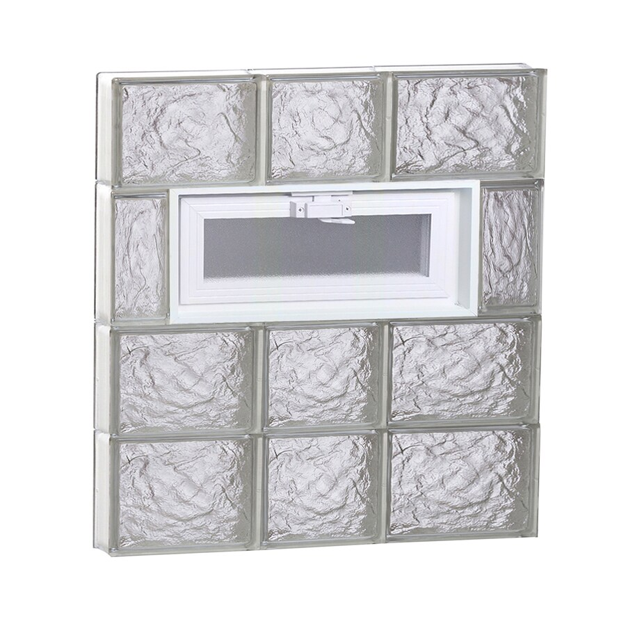 REDI2SET Ice Glass Pattern Frameless Replacement Glass Block Window (Rough Opening: 22-in x 26-in; Actual: 21.25-in x 25-in)