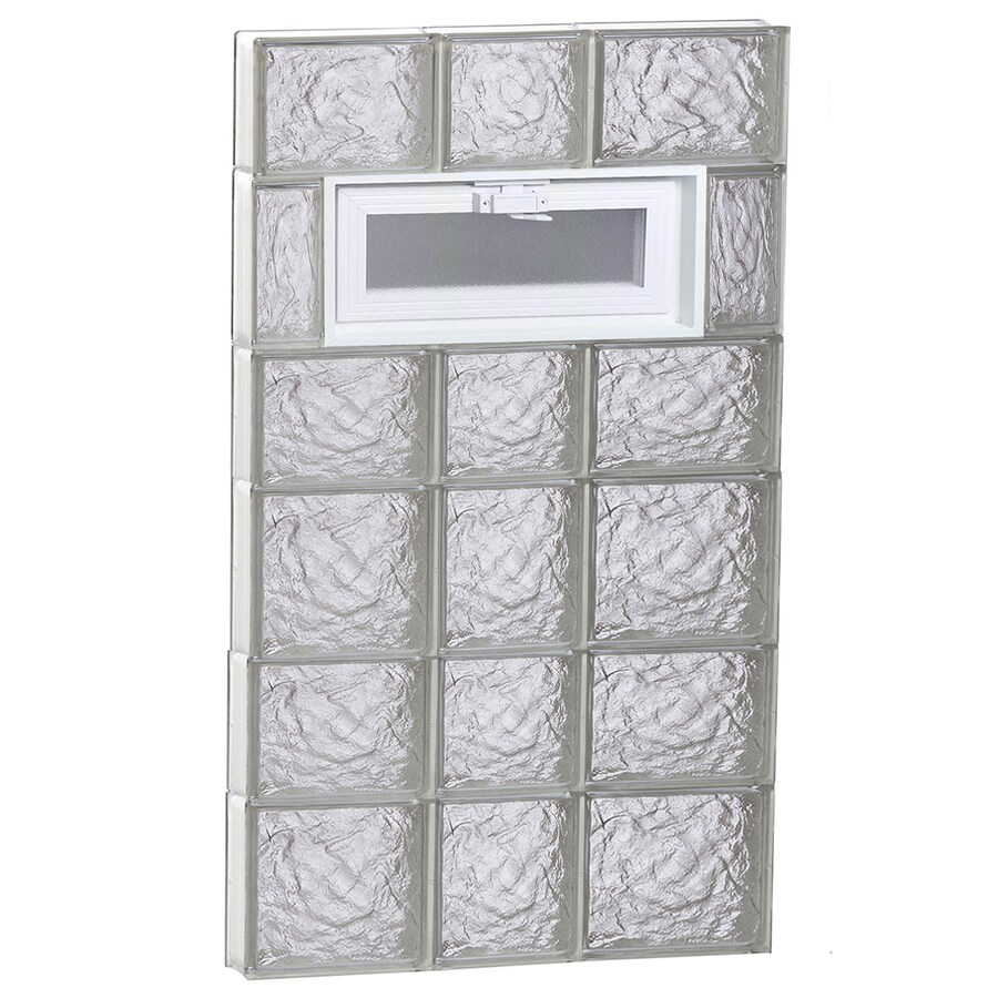 REDI2SET Ice Pattern Frameless Replacement Glass Block Window (Rough Opening: 22-in x 42-in; Actual: 21.25-in x 40.5-in)