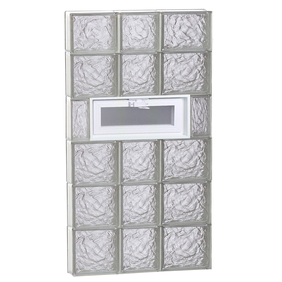 REDI2SET Ice Pattern Frameless Replacement Glass Block Window (Rough Opening: 22-in x 46-in; Actual: 21.25-in x 44.5-in)