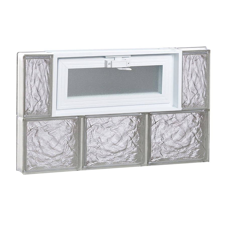 REDI2SET Ice Glass Pattern Frameless Replacement Glass Block Window (Rough Opening: 24-in x 16-in; Actual: 23.2500-in x 15.5000-in)