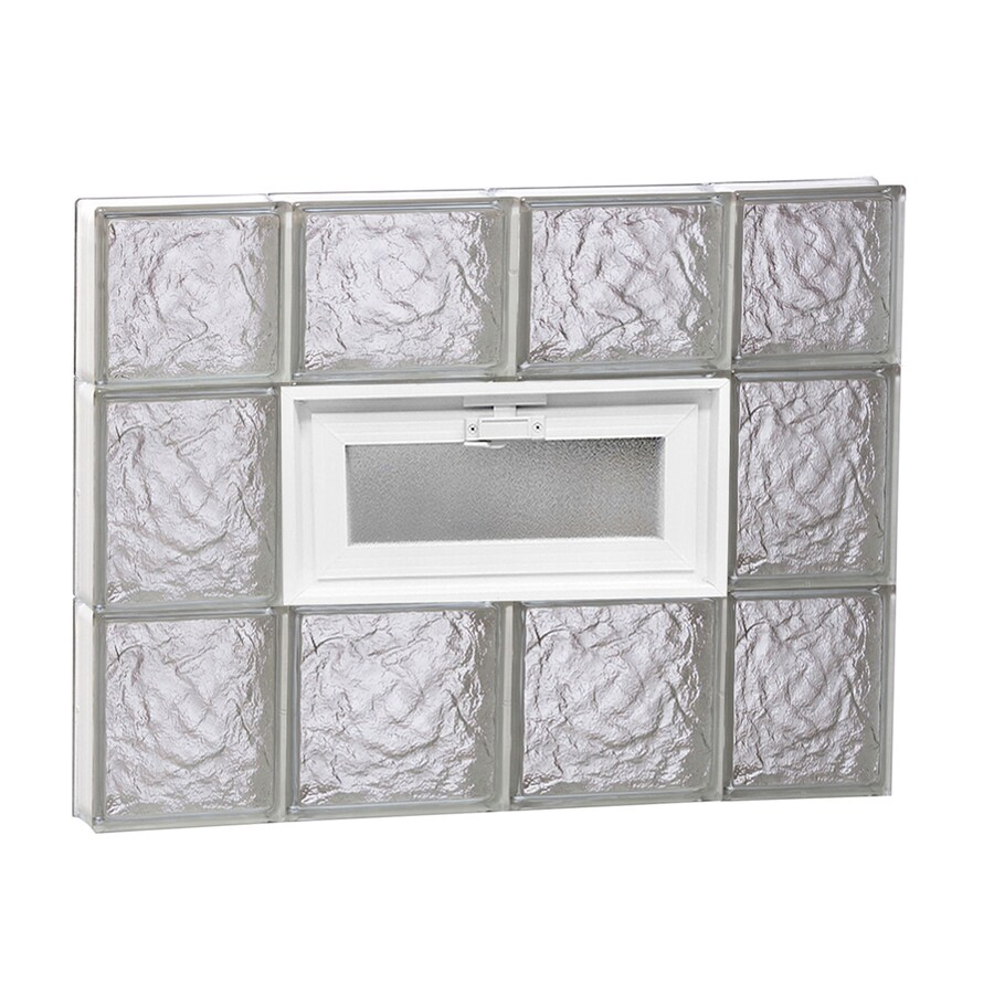 REDI2SET Ice Glass Pattern Frameless Replacement Glass Block Window (Rough Opening: 28-in x 22-in; Actual: 27-in x 21.25-in)