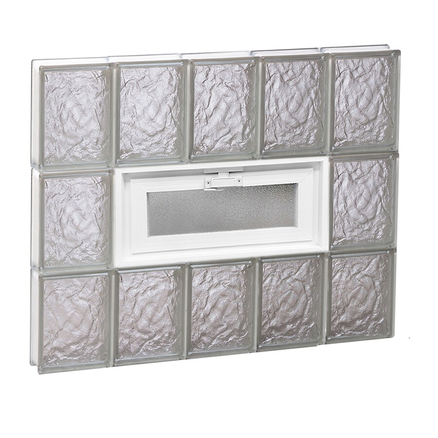 REDI2SET Ice Glass Pattern Frameless Replacement Glass Block Window (Rough Opening: 30-in x 24-in; Actual: 28.75-in x 23.25-in)