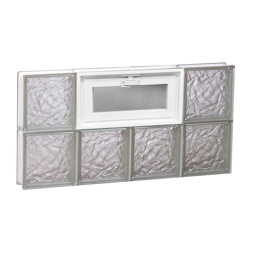 REDI2SET Ice Pattern Frameless Replacement Glass Block Window (Rough Opening: 32-in x 16-in; Actual: 31-in x 15.5-in)