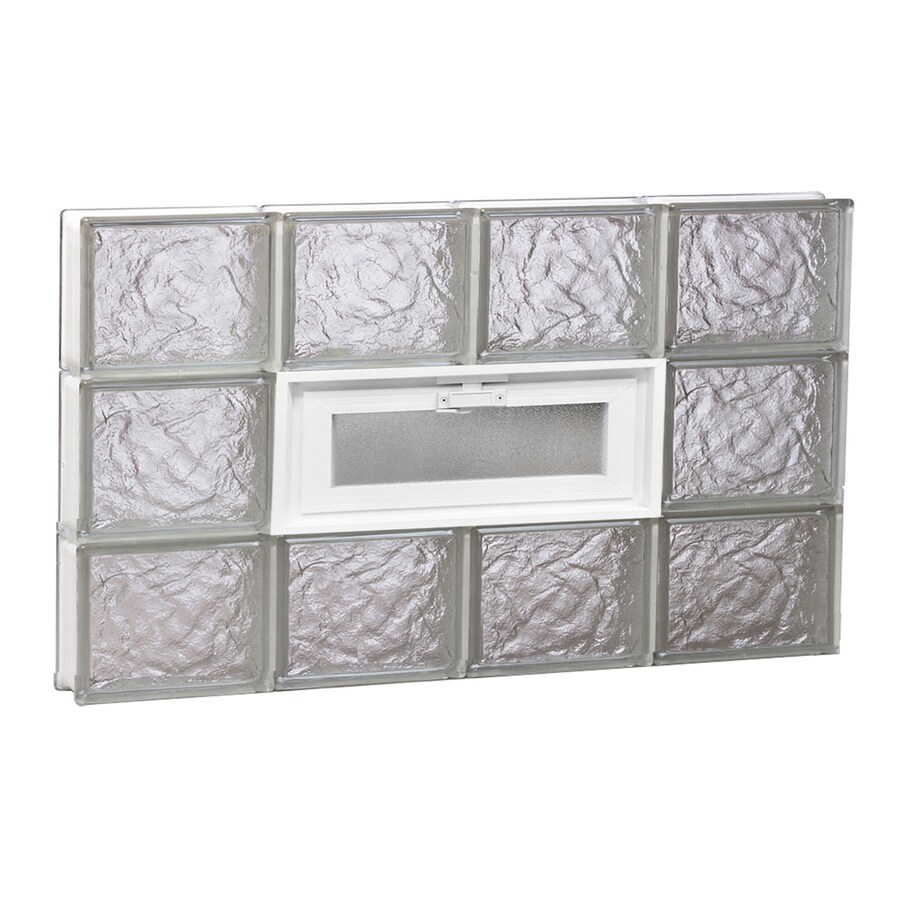 REDI2SET Ice Glass Pattern Frameless Replacement Glass Block Window (Rough Opening: 32-in x 18-in; Actual: 31-in x 17.25-in)