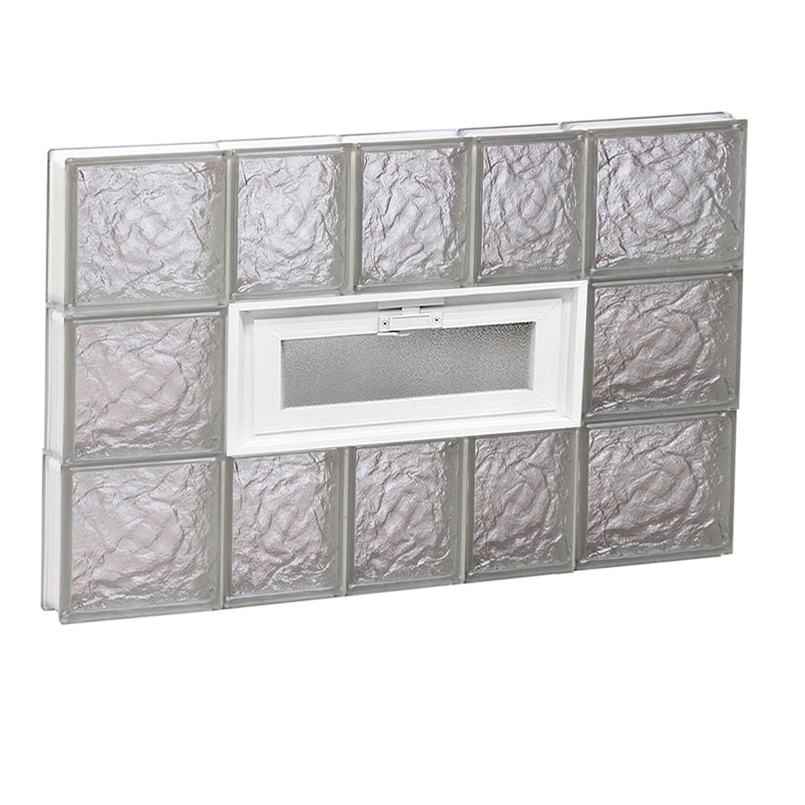REDI2SET Ice Glass Pattern Frameless Replacement Glass Block Window (Rough Opening: 34-in x 24-in; Actual: 32.75-in x 23.25-in)