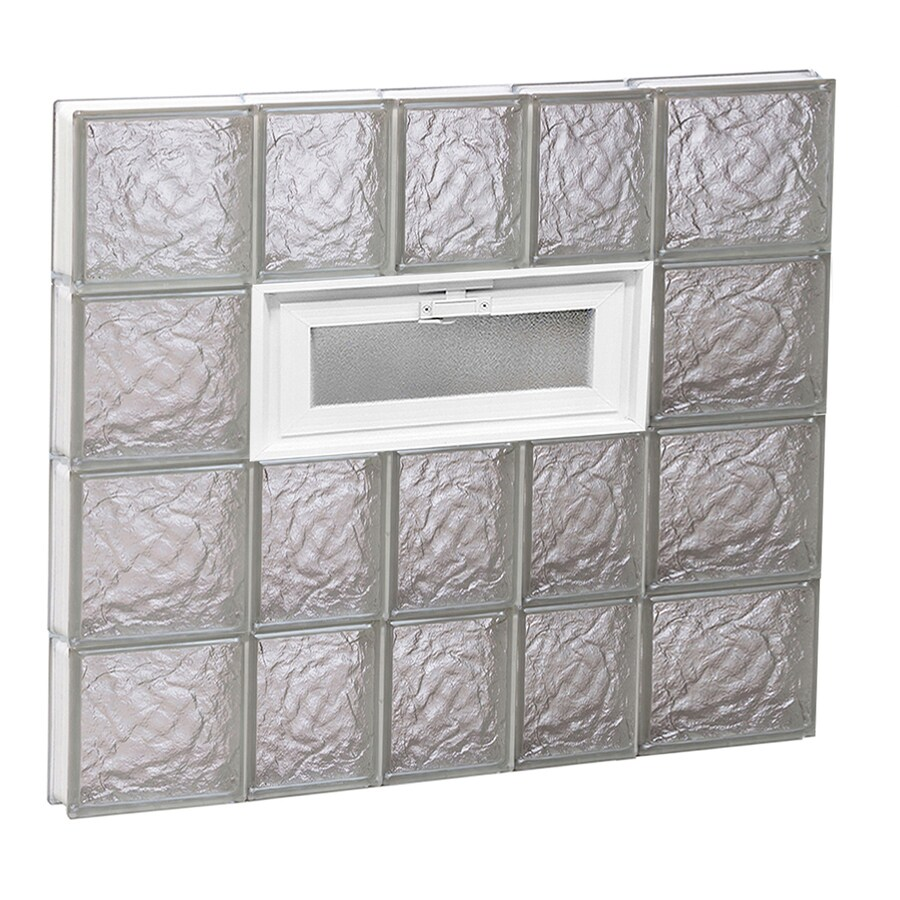 REDI2SET Ice Glass Pattern Frameless Replacement Glass Block Window (Rough Opening: 34-in x 32-in; Actual: 32.75-in x 31-in)