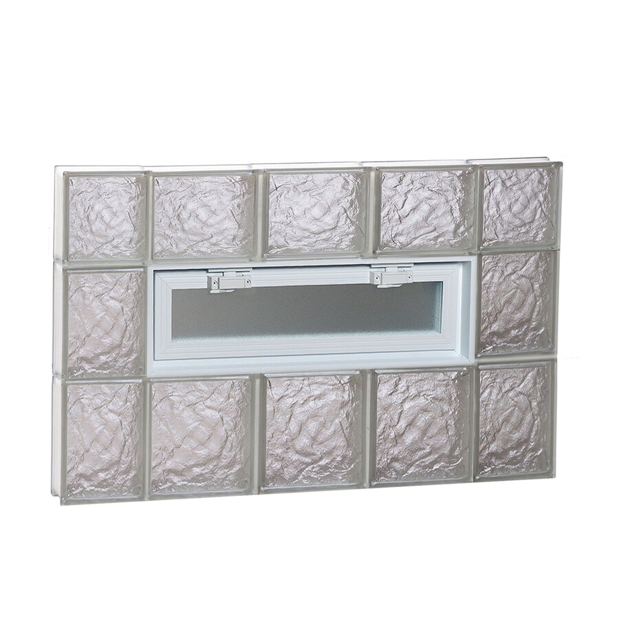 REDI2SET Ice Pattern Frameless Replacement Glass Block Window (Rough Opening: 36-in x 22-in; Actual: 34.75-in x 21.25-in)