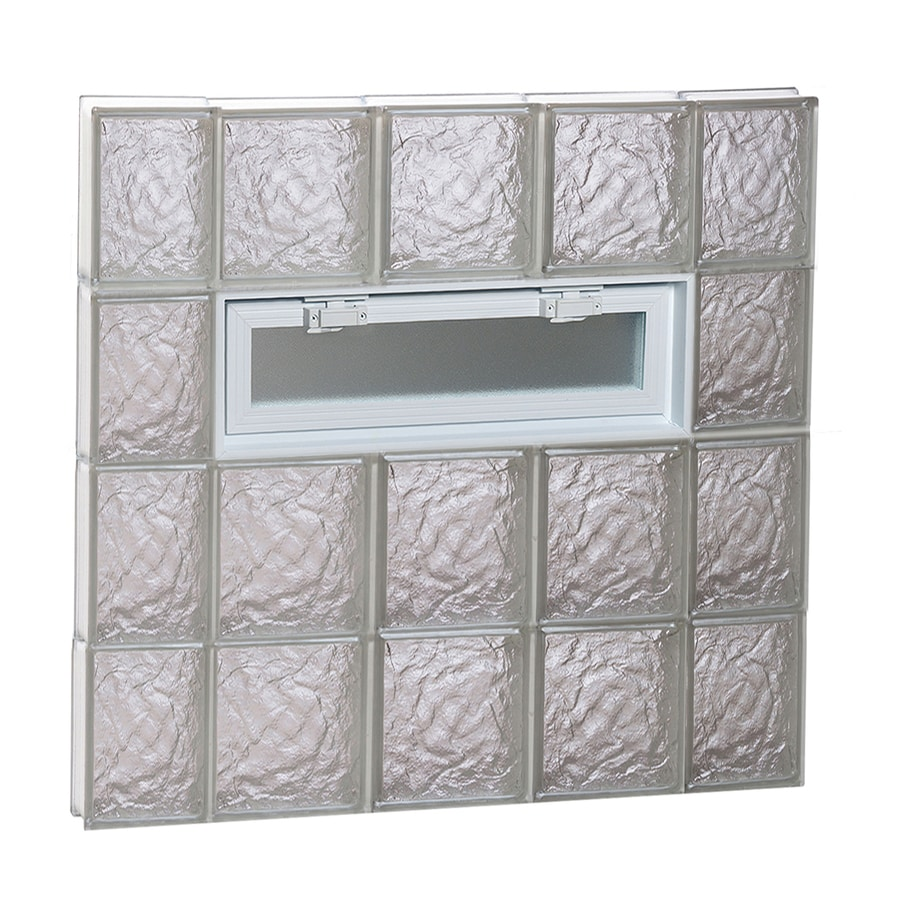 REDI2SET Ice Glass Pattern Frameless Replacement Glass Block Window (Rough Opening: 36-in x 32-in; Actual: 34.75-in x 31-in)