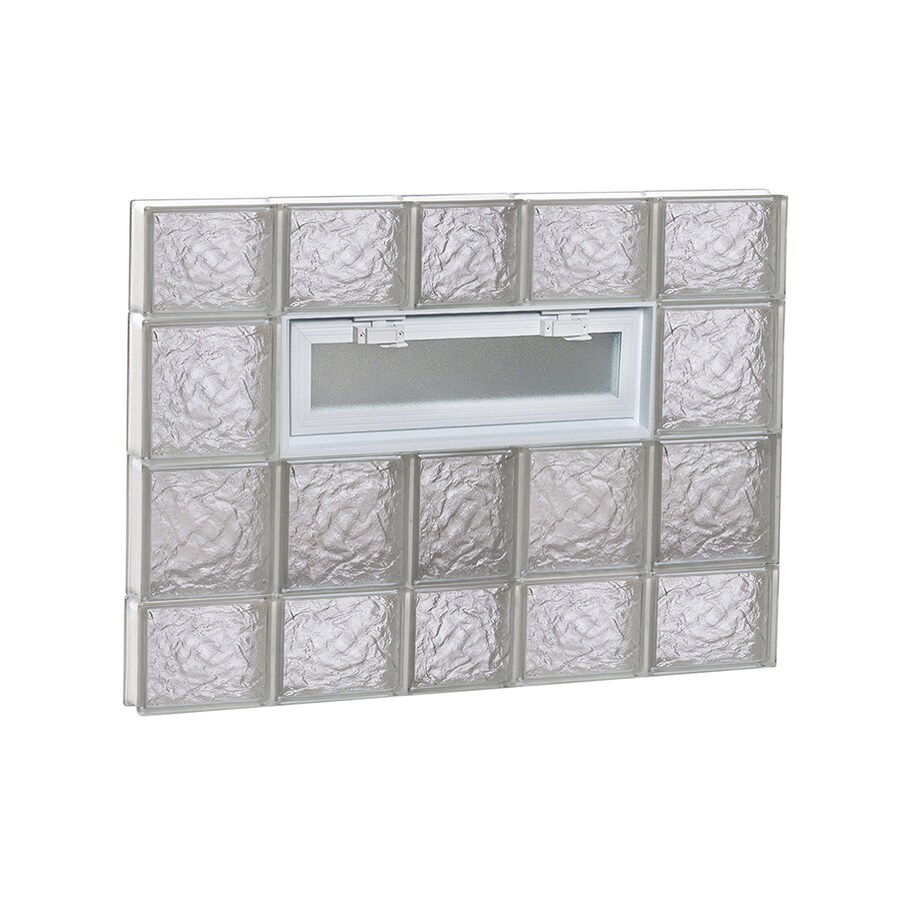 REDI2SET Ice Pattern Frameless Replacement Glass Block Window (Rough Opening: 38-in x 28-in; Actual: 36.75-in x 27-in)