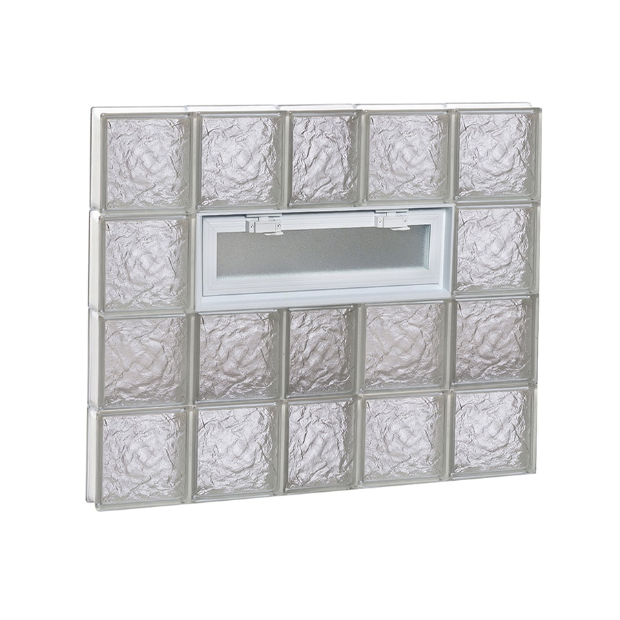 redi2set ice glass pattern frameless replacement glass clear block window rough opening 38 - Glass Blocks Lowes