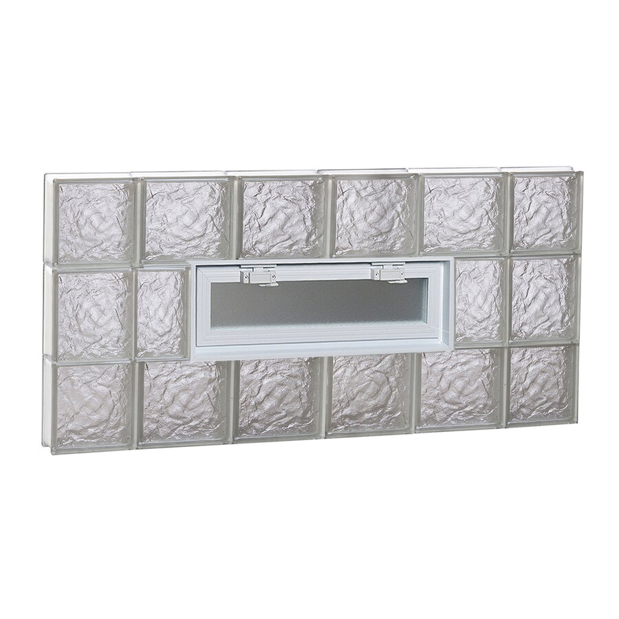 REDI2SET Ice Glass Pattern Frameless Replacement Glass Block Window (Rough Opening: 44-in x 22-in; Actual: 42.5-in x 21.25-in)
