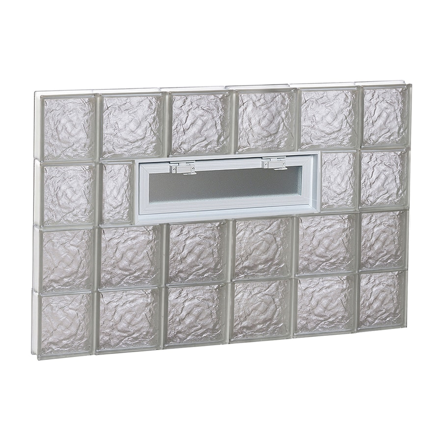 REDI2SET Ice Glass Pattern Frameless Replacement Glass Block Window (Rough Opening: 44-in x 32-in; Actual: 42.5-in x 31-in)