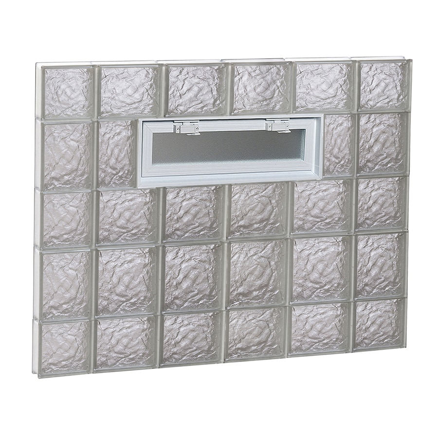REDI2SET Ice Glass Pattern Frameless Replacement Glass Block Window (Rough Opening: 44-in x 34-in; Actual: 42.5-in x 32.75-in)