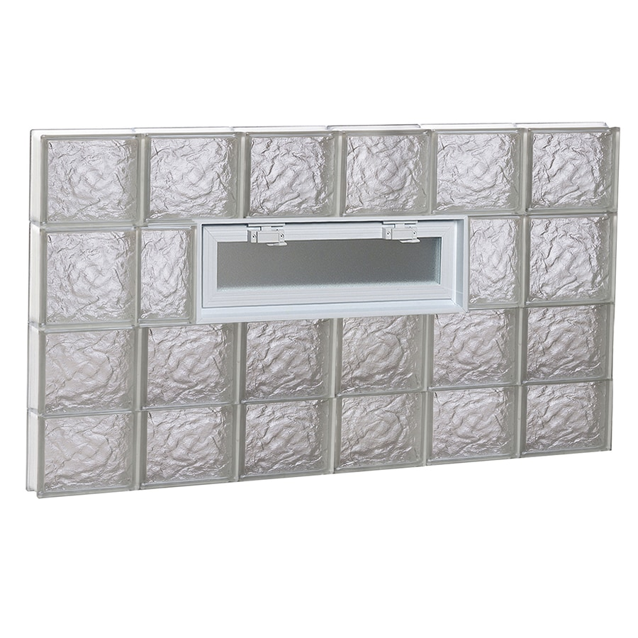 REDI2SET Ice Pattern Frameless Replacement Glass Block Window (Rough Opening: 48-in x 28-in; Actual: 46.5-in x 27-in)