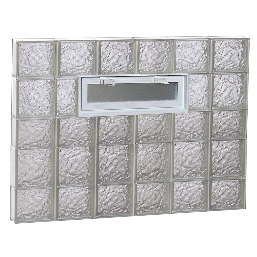 REDI2SET Ice Pattern Frameless Replacement Glass Block Window (Rough Opening: 48-in x 34-in; Actual: 46.5-in x 32.75-in)