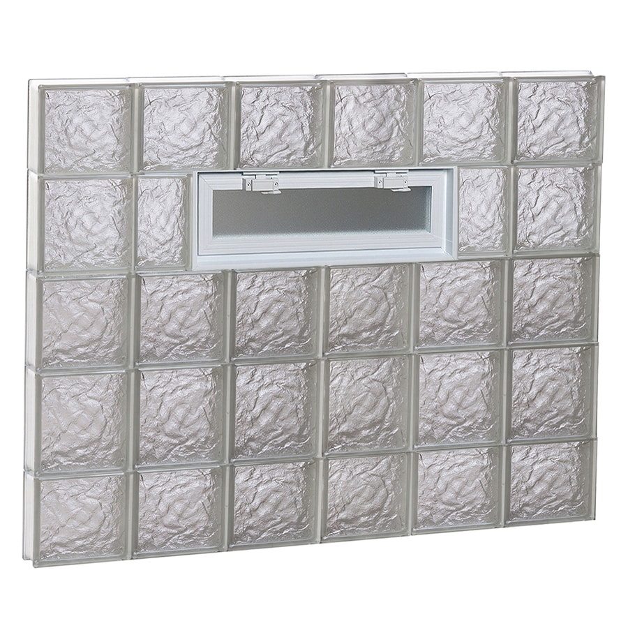 REDI2SET Ice Pattern Frameless Replacement Glass Block Window (Rough Opening: 48-in x 36-in; Actual: 46.5-in x 34.75-in)