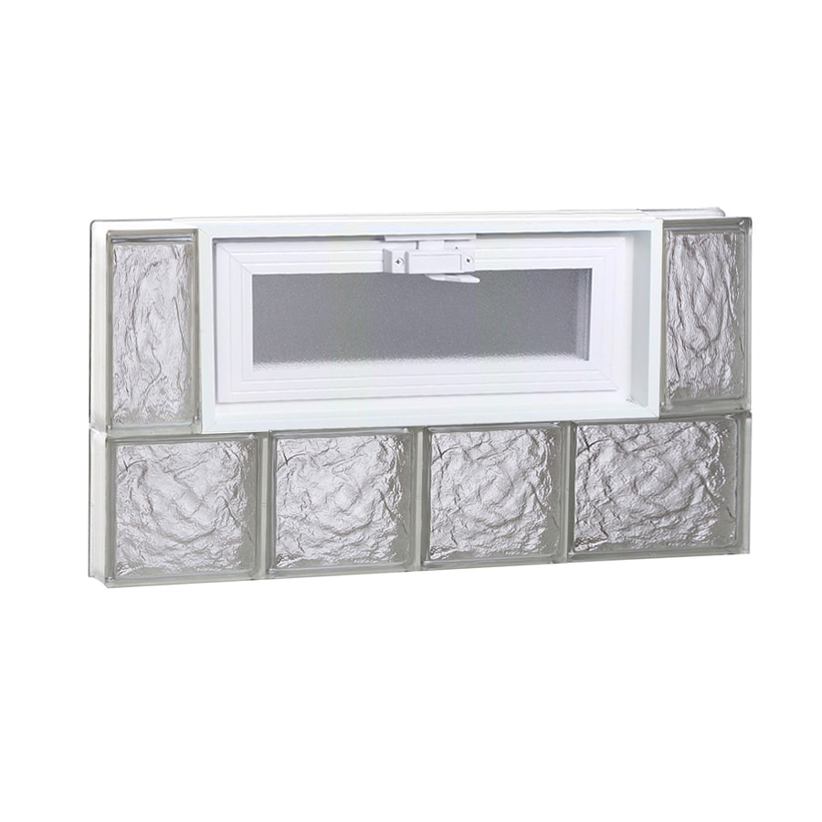 REDI2SET Ice Pattern Frameless Replacement Glass Block Window (Rough Opening: 26-in x 14-in; Actual: 25-in x 13.5-in)