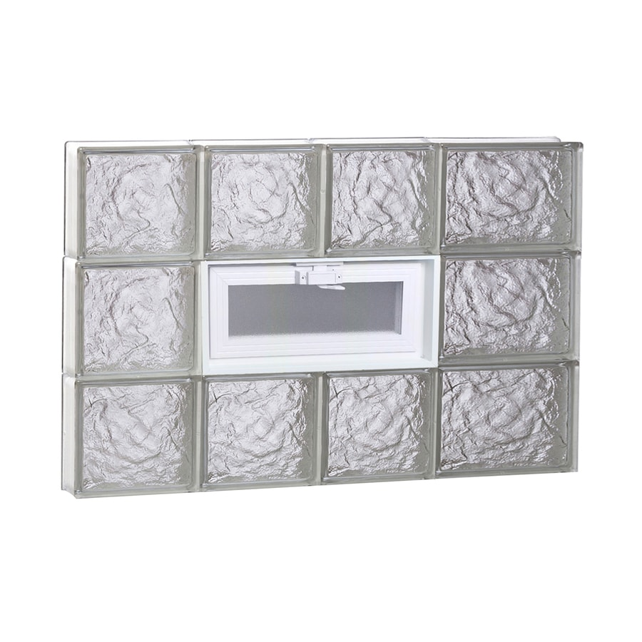 REDI2SET Ice Glass Pattern Frameless Replacement Glass Block Window (Rough Opening: 26-in x 18-in; Actual: 25-in x 17.25-in)