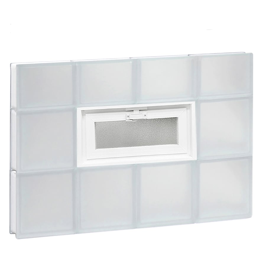 REDI2SET Frosted Glass Pattern Frameless Replacement Glass Block Window (Rough Opening: 32-in x 22-in; Actual: 31-in x 21.25-in)