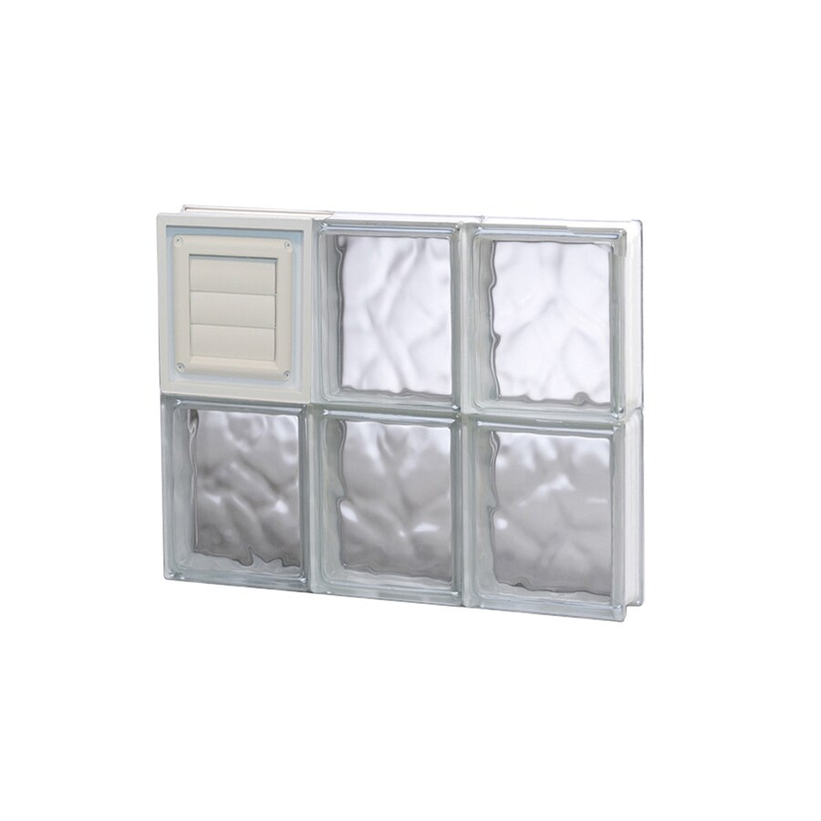 REDI2SET Wavy Glass Pattern Frameless Replacement Glass Block Window (Rough Opening: 18-in x 16-in; Actual: 17.25-in x 15.5-in)