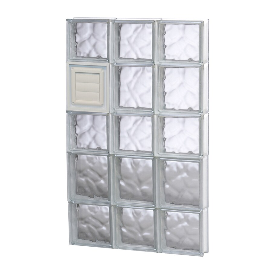 REDI2SET Wavy Glass Pattern Frameless Replacement Glass Block Window (Rough Opening: 18-in x 34-in; Actual: 17.25-in x 32.75-in)