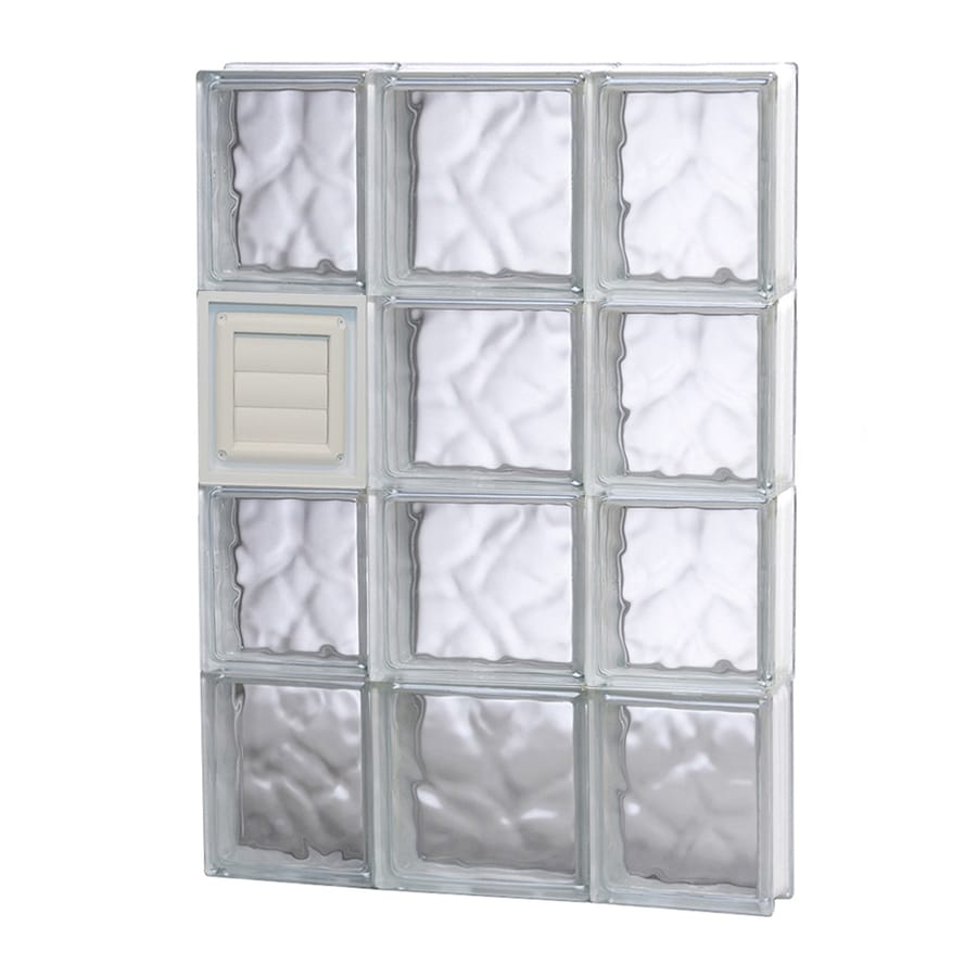 REDI2SET Wavy Pattern Frameless Replacement Glass Block Window (Rough Opening: 20-in x 32-in; Actual: 19.25-in x 31-in)