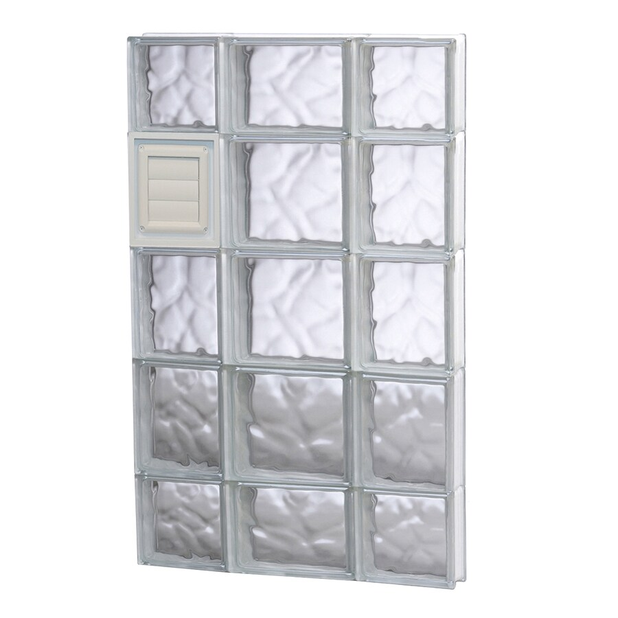 REDI2SET Wavy Glass Pattern Frameless Replacement Glass Block Window (Rough Opening: 20-in x 36-in; Actual: 19.25-in x 34.75-in)