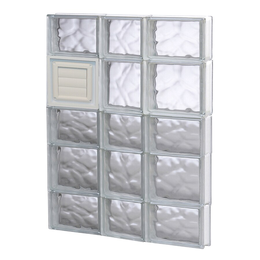 REDI2SET Wavy Glass Pattern Frameless Replacement Glass Block Window (Rough Opening: 22-in x 34-in; Actual: 21.25-in x 32.75-in)