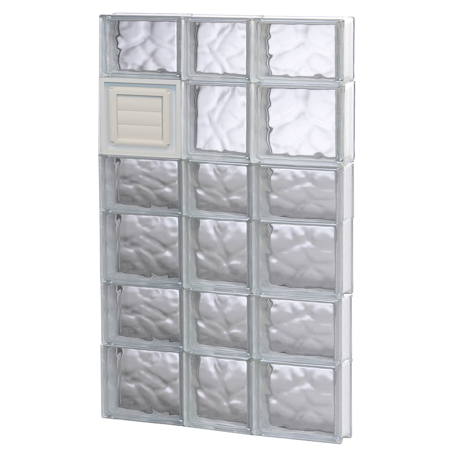 REDI2SET Wavy Glass Pattern Frameless Replacement Glass Block Window (Rough Opening: 22-in x 42-in; Actual: 21.25-in x 40.5-in)