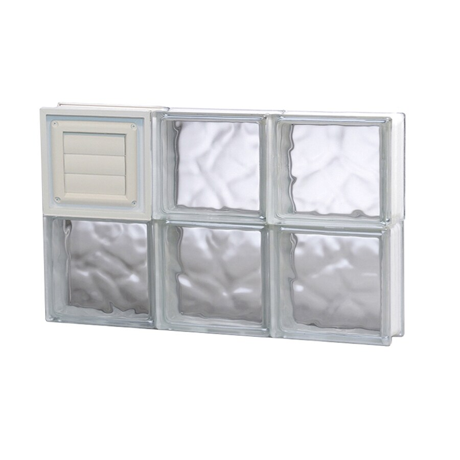 REDI2SET Wavy Glass Pattern Frameless Replacement Glass Block Window (Rough Opening: 24-in x 16-in; Actual: 23.25-in x 15.5-in)
