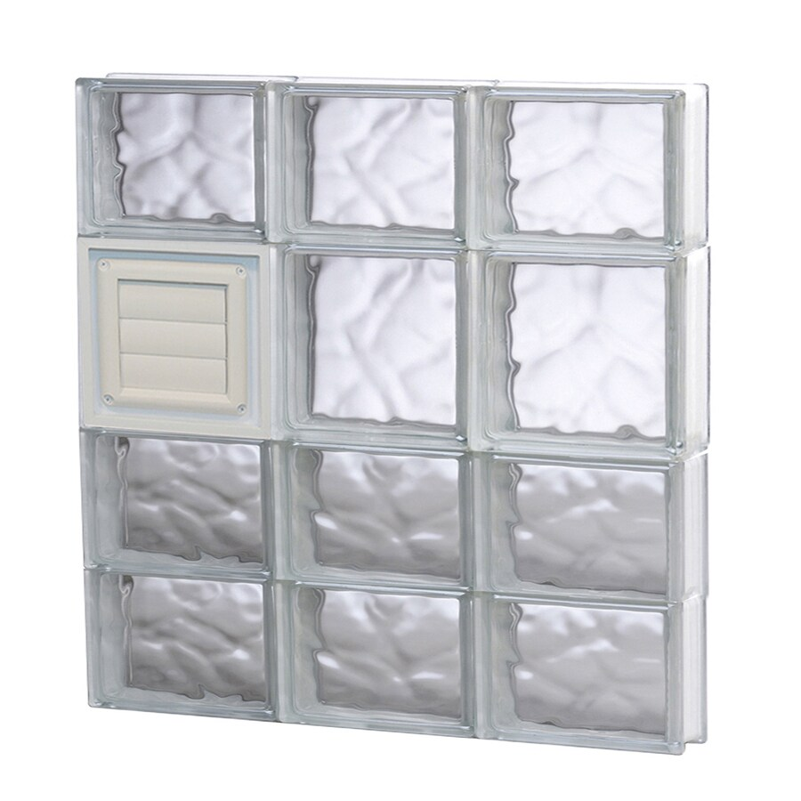 REDI2SET Wavy Glass Pattern Frameless Replacement Glass Block Window (Rough Opening: 24-in x 26-in; Actual: 23.25-in x 25-in)