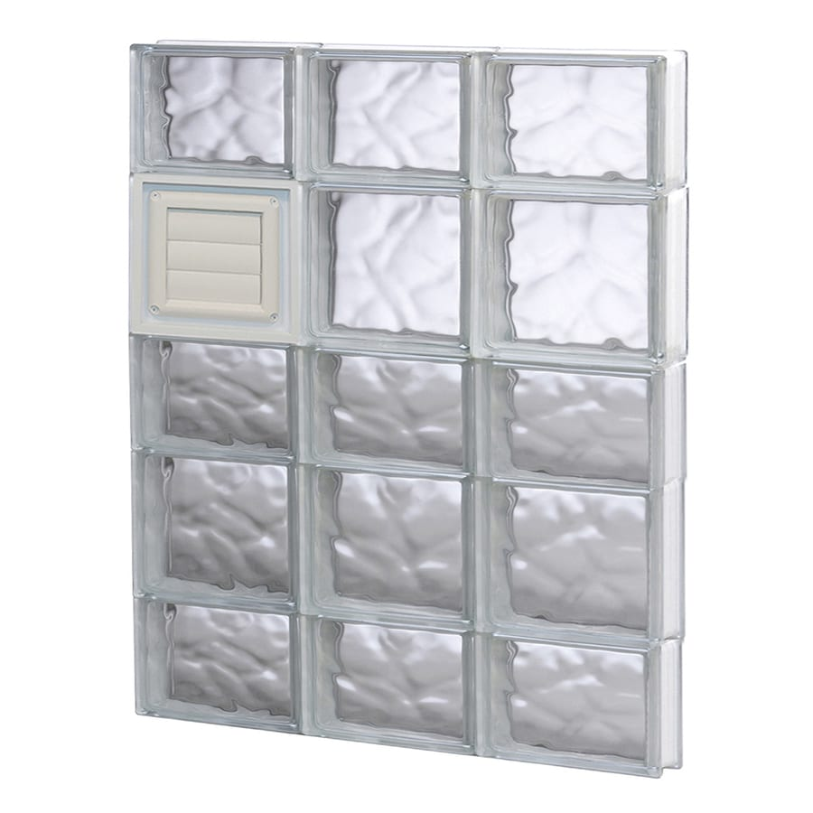 REDI2SET Wavy Glass Pattern Frameless Replacement Glass Block Window (Rough Opening: 24-in x 34-in; Actual: 23.25-in x 32.75-in)