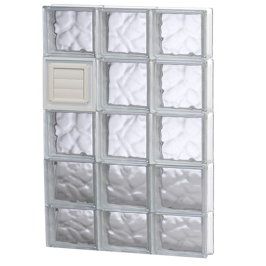 REDI2SET Wavy Glass Pattern Frameless Replacement Glass Block Window (Rough Opening: 24-in x 38-in; Actual: 23.25-in x 36.75-in)