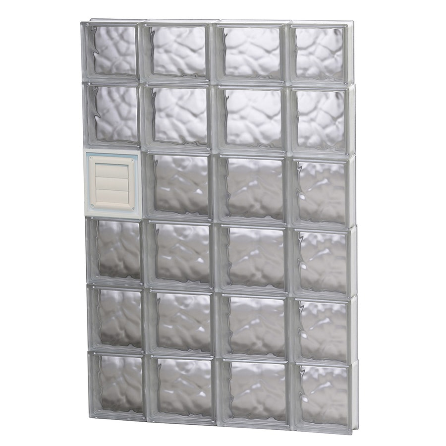 REDI2SET Wavy Pattern Frameless Replacement Glass Block Window (Rough Opening: 28-in x 46-in; Actual: 27-in x 44.5-in)