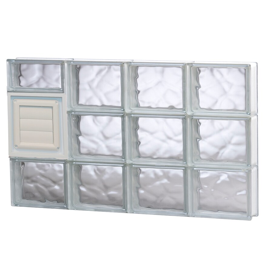 REDI2SET Wavy Pattern Frameless Replacement Glass Block Window (Rough Opening: 32-in x 18-in; Actual: 31-in x 17.25-in)