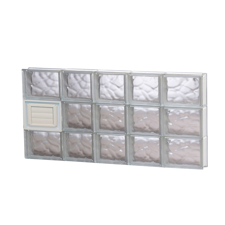 REDI2SET Wavy Glass Pattern Frameless Replacement Glass Block Window (Rough Opening: 34-in x 18-in; Actual: 32.7500-in x 17.2500-in)