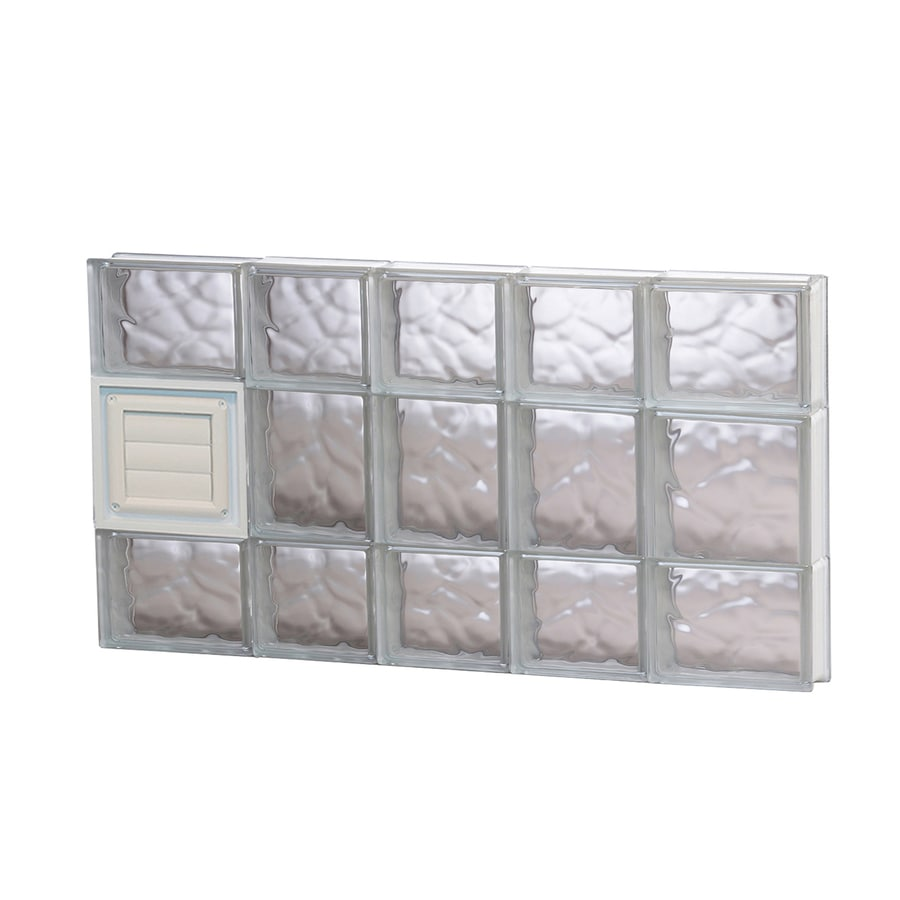 REDI2SET Wavy Glass Pattern Frameless Replacement Glass Block Window (Rough Opening: 34-in x 20-in; Actual: 32.75-in x 19.25-in)