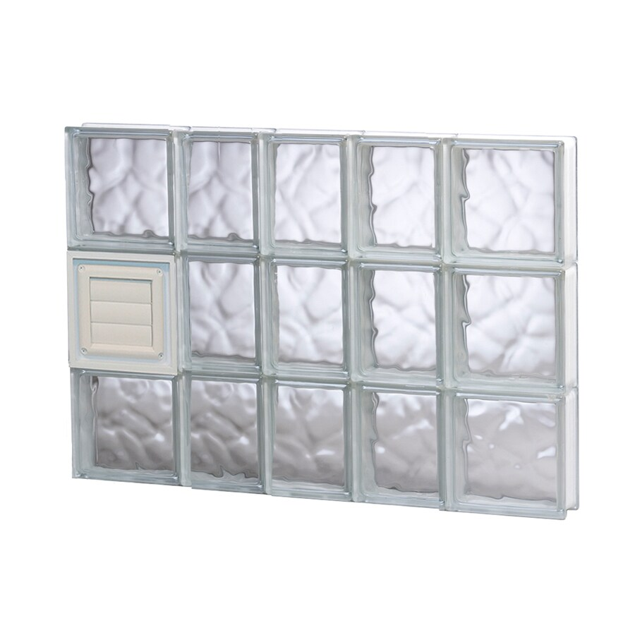 REDI2SET Wavy Pattern Frameless Replacement Glass Block Window (Rough Opening: 34-in x 24-in; Actual: 32.75-in x 23.25-in)