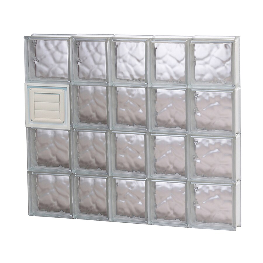 REDI2SET Wavy Pattern Frameless Replacement Glass Block Window (Rough Opening: 34-in x 32-in; Actual: 32.75-in x 31-in)