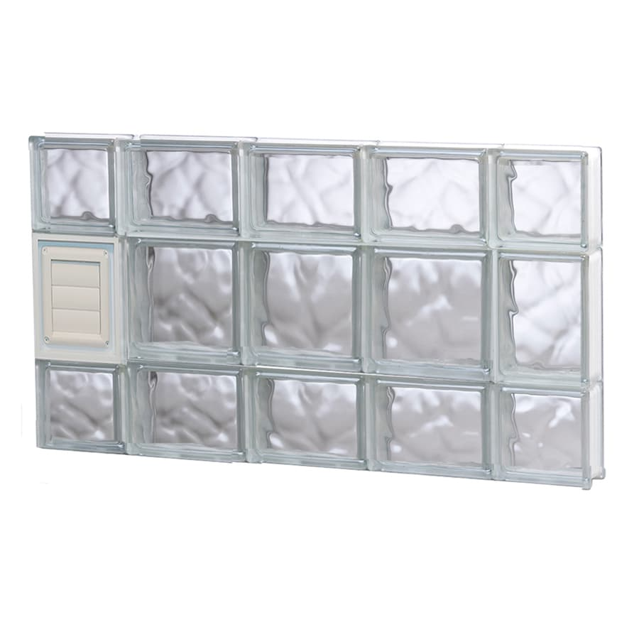REDI2SET Wavy Glass Pattern Frameless Replacement Glass Block Window (Rough Opening: 36-in x 20-in; Actual: 34.75-in x 19.25-in)