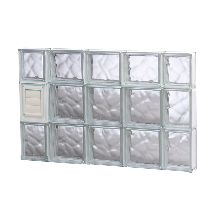 REDI2SET Wavy Glass Pattern Frameless Replacement Glass Block Window (Rough Opening: 36-in x 22-in; Actual: 34.75-in x 21.25-in)